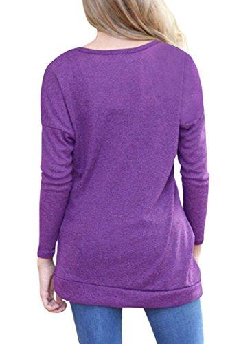ESAILQ Y2-WDV8-KM3N Solide Chemise Tops à Manches Longues Bouton Chemisier Décontracté tops Plus Taille Violet