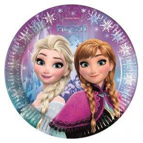 Procos 86755–Assiettes Papier Disney La reine des neiges Northern Lights (Ø23cm), 8pièces, multicolore
