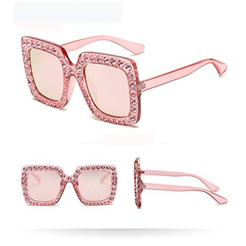 SYQA Sonnenbrille Mädchen Crystal Rim Frauen Sonnenbrille Retro Square Oversize Sonnenbrille Lady Diamond Pink Eyewear Uv400,C1 Crystal Rim