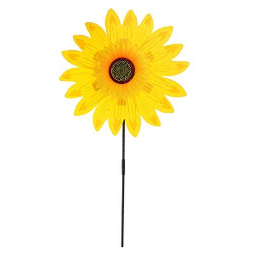 Garten Sonnenblumen (MagiDeal 36 cm DIY Sonnenblume Windmühle - Blume Windrad Windspiel - Deko für Camping Garten Party Festival Garten - Gelb)