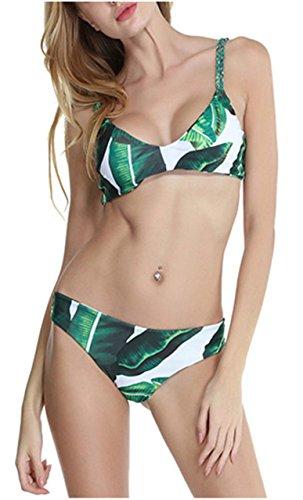 Gewebte Blätter (CHIC DIARY Frauen Damen Bikinis Bikini Sets Bademode Push up Badeanzug mit Regenwald Blatt gedruckter träger Umweltschutz Design)