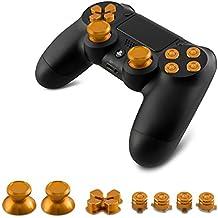 kwmobile Teclas de repuesto para Playstation 4 Dualshock en oro - 4 teclas 2 thumbsticks 1 Touchpad 7 botones 1 cruz