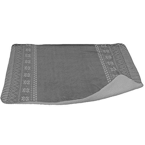 Kuschel-Decke mit Schneeflocken-Muster und Streifen, 130 x 150 cm, grau