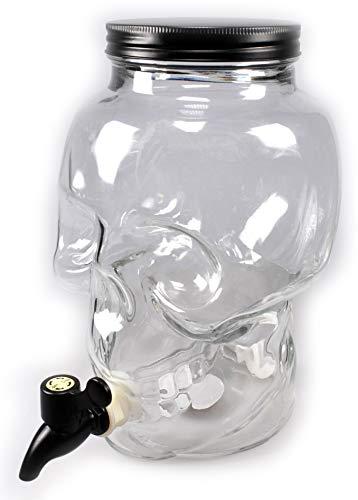 MC Trend 3 Liter Getränkespender Totenkopf mit Zapfhahn Skull Wasser-Saft-Alkohol-Spender Sommer Garten Feier Geburtstag Geschenk-Idee (Halloween-geburtstag Ideen Geschenke)