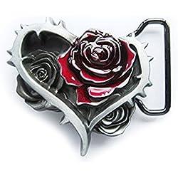 eeddoo Cinturón Hebilla-Corazón con Rosas & Picas-Flores-Flower Buckle (Buckle para cambio Cinturón para hombre y mujer)