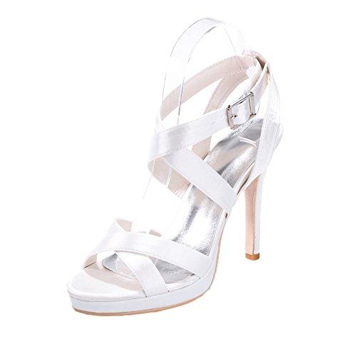 Chalmart Sandales Femme élégant Sandales à Talon Chaussures De Soirée Sexy Body Blanc