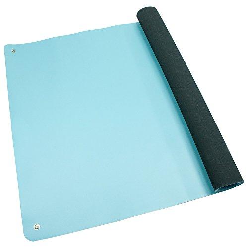 Wetec Tischbelag, ESD, 610 x 1.220 mm, hellblau, gerundete Ecken, 2 x 10 mm DK