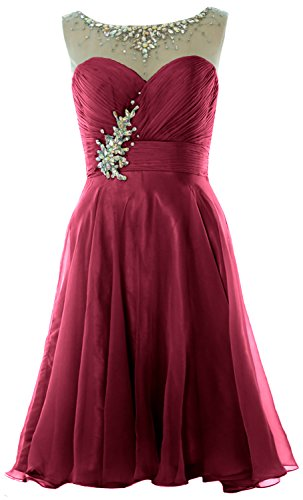 MACloth Women Straps Crystal Chiffon Short Prom Dress Cocktail Party Formal Gown Weinrot