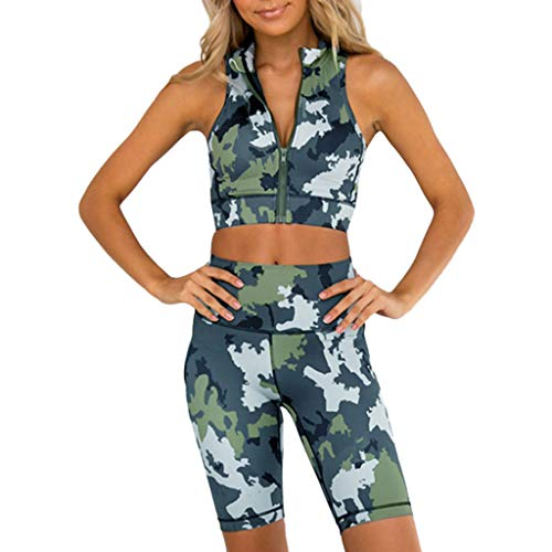 Younthone Damen Hose Sets, Damen Sportkleidung 2 Teile/Satz Sportswear Rückenfrei Yoga Sports Tops Weste + Elastizität Fitness Leggings High Waist Hose (Tarnen,XL)