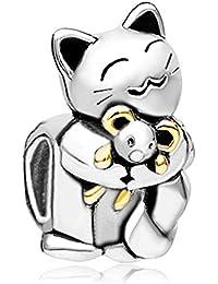 Pugster 925 Sterling Silver Smiling Cat Hugging Mouse Animal Charms Bead Fit Pandora Bracelet