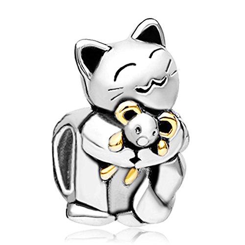 Armband Charm Katze (Pugster Tier-Anhängerperle für Pandora-Armband aus 925erSterlingsilber, lächelnde Katze, die eine Maus umarmt)