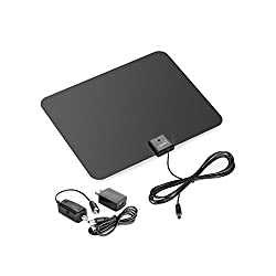 ViewTV Flat HD Digital Indoor Amplified TV Antenna - 50 Miles Range - Detachable Amplifier Signal Booster - 12ft Coax Cable - Black