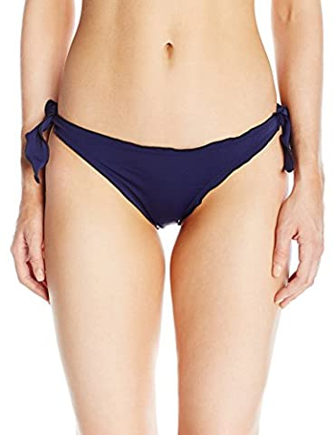 Guess Women's Solid Ruffle Cheeky Bikini Bottom, Bleu/Deck Blue, M
