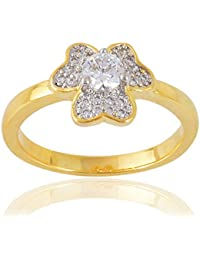 Devanjali Heart Designer Two Tone Plated Stylish Solitaire Ring For Women Girls (IR-0156)