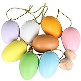 Trixes 8 Stück Kunststoff Ostereier Zum Aufhängen mit Mini Holz Eierbecher Display