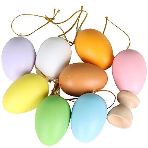 Trixes confezione da 8 uova artistiche di pasqua in plastica su cordoncini con mini espositore porta uovo in legno.