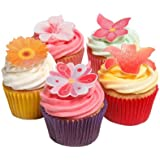 Holly Cupcakes Mixed Summer Flower Edible Cake Decorations (Pack of 48)