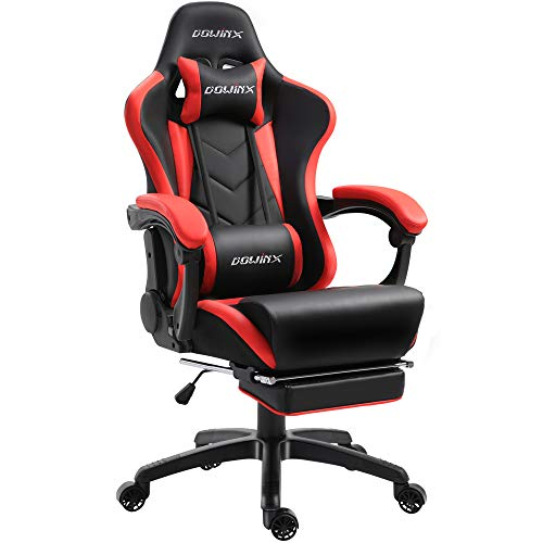Dowinx Gaming Stuhl Ergonomischer Racing Stil Lehnstuhl mit Massage Lordosenstütze, Büro Sessel für Computer-PU-Leder-E-Sport-Gamer Stühle mit Ausziehbarem Fußraste (schwarz&rot)