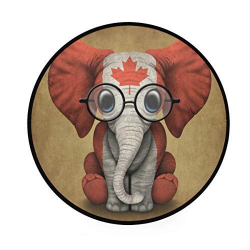 MONTOJ Baby Elefant mit Brille und Kanadische Flagge, rund, rutschfeste Fußmatte für Wohnzimmer Schlafzimmer