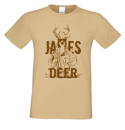 James Deer ... Sprüche-Fun-Hirsch-T-Shirt für Herren Freizeit Volksfest Oktoberfest Tracht Outfit - Geschenk Männer Farbe: sand Sand