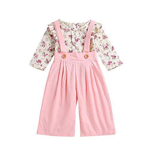 WUSIKY Baby Mädchen Outfits Sommer, Kleinkind Baby Mädchen Langarm Floral Tops + Feste Overalls Hosen Kleidung Outfits Lässige Mode Shirt Set(Rosa,120) - Paisley Baby Mädchen Outfit