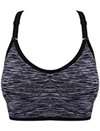 ny Deportes Ropa interior Shock Sports Fitness Ladies Reúna Movimiento Anillo Sin Vest-estilo Bra ( Color : Negro , Tamaño : S )