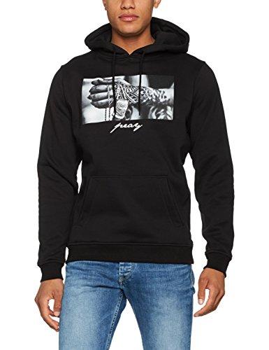 Mister Tee Pray 2.0 Hoodie Hooded Sweatshirt Kapuzenpullover mit Aufdruck für Damen und Herren, Farbe Schwarz, Größe M Hoodie Tee