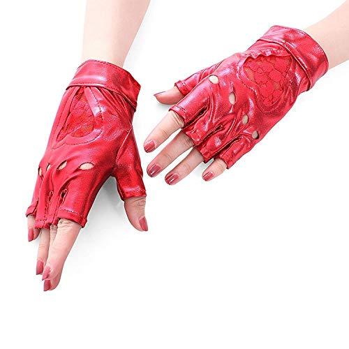 Frauen Punk Spitze Half Finger PU Leder Performance Handschuhe Arbeitshandschuhe (Color : Red) (Hash Tag Kostüme)