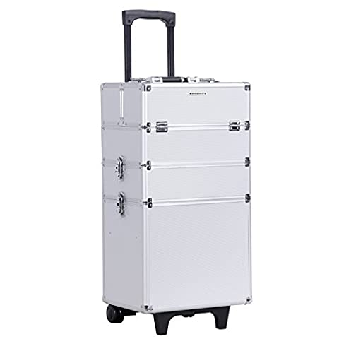 Songmics® 4-in-1 Valise cadre en Aluminium boîte à maquillage/outils, Beauty Case Trolley Maquillage Coiffure Nail Cosmetic JHZ01S
