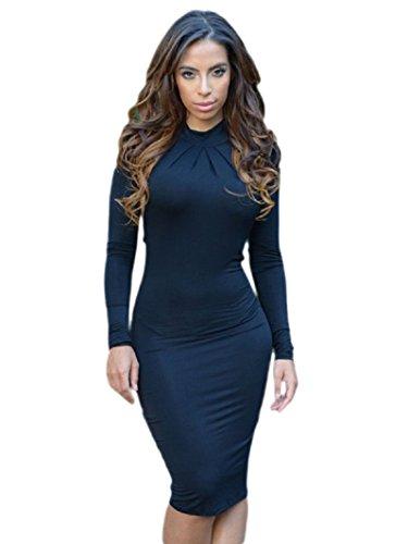Neue Damen Schwarz Offene Rückseite Mock Hals figurbetontes Kleid Party Wear Club Wear Arbeit Kleid Größe UK 10–12EU 38–40 (Hals Mock)