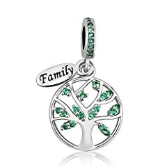 """Idea Regalo - Uniqueen, ciondolo con albero della vita e targhetta con scritta """"Family"""", per bracciale e collana e Rame, colore: Green, cod. DPC_FA500_X05"""