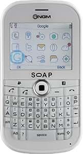 """NGM Soap Téléphone portable Écran tactile 5,5 cm (2,2"""") Tri bande Appareil photo 1,3 mégapixels Micro SD Blanc / 4 coques incluses : rouge, bleu, rose, jaune (Import Allemagne)"""