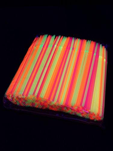 UV Schwarzlicht Neon Strohhalme mit Knick 500 (Neon Party Dekorationen)