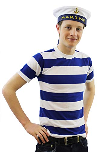 Seemann Kapitän Frauen Kostüm - ILOVEFANCYDRESS SEEMANN Matrosen Tshirt+MÜTZE KOSTÜM VERKLEIDUNG Unisex KAPITÄN Fasching Karneval Theme Party=TSCHIRT-XXLarge