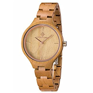 GREENTREEN Natural Quartz Watches Women Wooden Case Watch with Solid Wood Bracelet Rose Gold Face Brown
