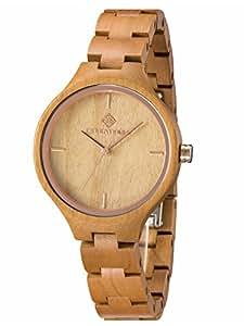 GreenTreen Frauen Holz Uhr Analoges Quarzwerk mit Holz Armbanduhr