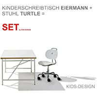 Preisvergleich für SET - Kinderschreibtisch Eiermann 150x75 cm weiß + Stuhl Turtle weiß - Richard Lampert Möbel