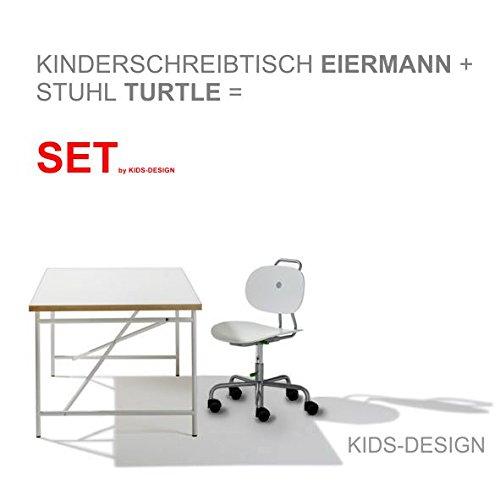 Preisvergleich Produktbild SET - Kinderschreibtisch Eiermann 150x75 cm weiß + Stuhl Turtle weiß - Richard Lampert Möbel