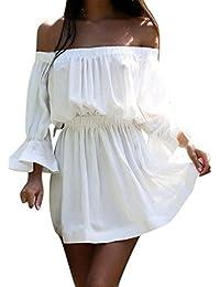 96f18240baa5 Lannister Fashion Vestiti Donna Eleganti Estivi Ragazza Vestito Cerimonia Corti  Abito da Giorno Linea Ad A A Pieghe Spalla di…