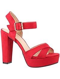 9e86c429ff50 Elara Damen Pumps   Bequeme Peep-Toe Sandalette   Trendige Plateau High  Heels…