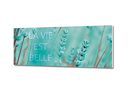 GRAZDesign 100844 Wandbild mit Spruch La Vie Est Belle | Exklusives Panoramafoto Blumen und Natur | Fertig Zum Aufhängen