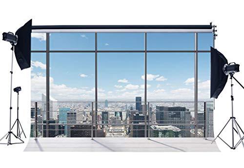 BuEnn Vinyl 7X5FT Büro-Raum-Hintergrund Amerikanisches New York City Geschäftsansicht Straßenansicht Wolkenkratzer Französische Schärpe Blauer Himmel Weiße Wolke Sonnenschein Fotografie Hintergrund