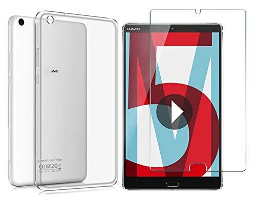Domxteck (2 in 1 Pack Transparente TPU-Schutzhülle aus Silikon + 9H Bildschirmschutzfolie für Huawei MediaPad M5 8.4