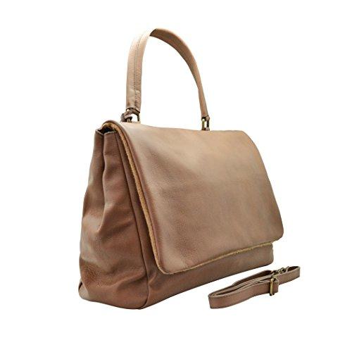ROMANA Sac épaule sac portés épaule sac rabat grand et spacieux, cuir de vachette marron