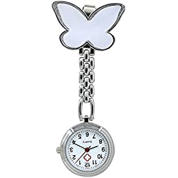 Bluelans® Cute Butterfly Round Dial Quartz Pocket Nurse Watch Brooch Fob Watch