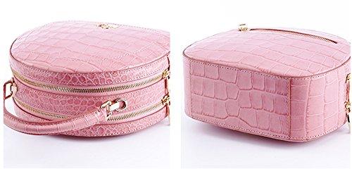 Xinmaoyuan Damen Handtaschen Leder solide Dame runde kleine Tasche Sweet Lady Single Schulter Handtasche, Pink Rosa