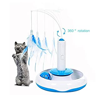 Anano Electric Rotate Cat Toy Interactive Cat Feather Teaser Motion Kitten Toys for Cat Playing