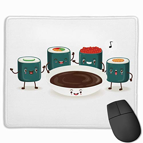 Drempad Gaming Mauspads Custom, Non-Slip Mouse Pads Rectangle Rubber Mousepad Sushi Sauce Print Gaming Mouse Pad -