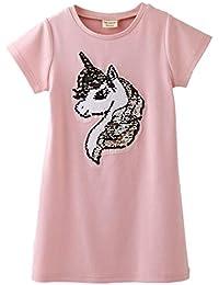 bc4eca21b I pass Camisa con Lentejuelas de niña Unicorn Summer Camiseta de algodón