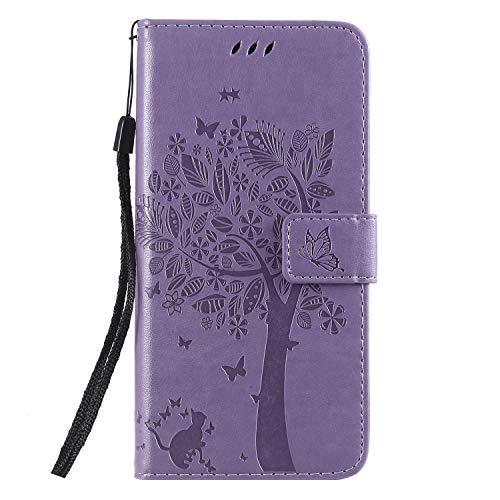 Miagon für Huawei Y7 2019 Geldbörse Wallet Case,PU Leder Baum Katze Schmetterling Flip Cover Klapphülle Tasche Schutzhülle mit Magnet Handschlaufe Strap